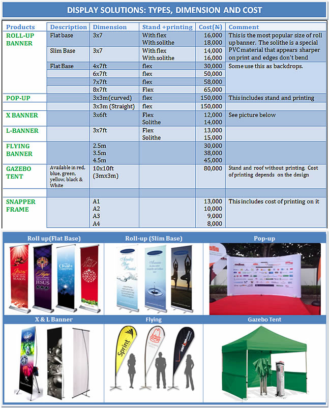 pop-up and gazebo cost in nigeria