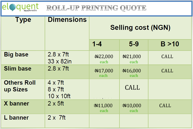 cost of roll up banner in nigeria