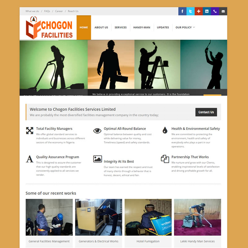 facilities website design in Nigeria